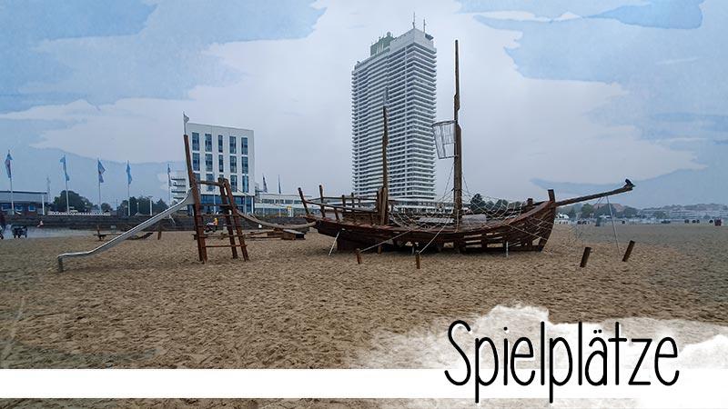 In Travemünde an der Ostsee und auf dem Priwall gibt es 5 Spielplätze mit Meerblick.